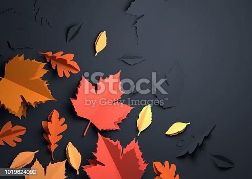 istock Paper Art - Autumn Fall Leaves Background 1019624092