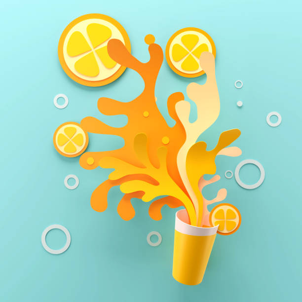 Paper art of Orange Juice with splash Paper art of Orange Juice with splash, 3d illustration. paper craft stock pictures, royalty-free photos & images