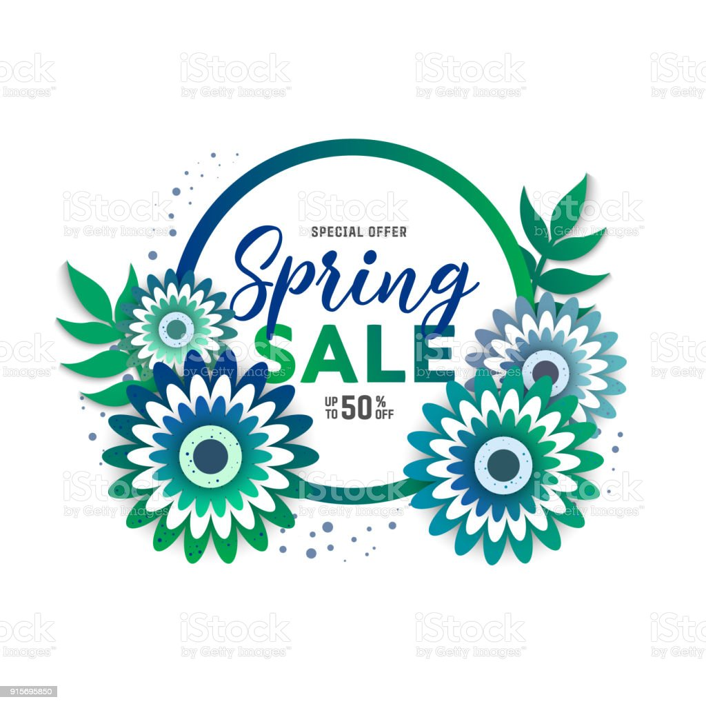 Paper art of spring sale stock photo