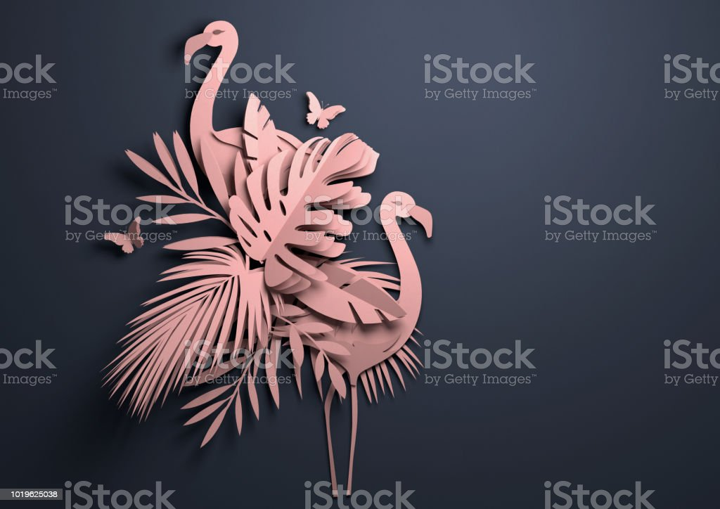 Paper Art - Pink Tropical Background stock photo