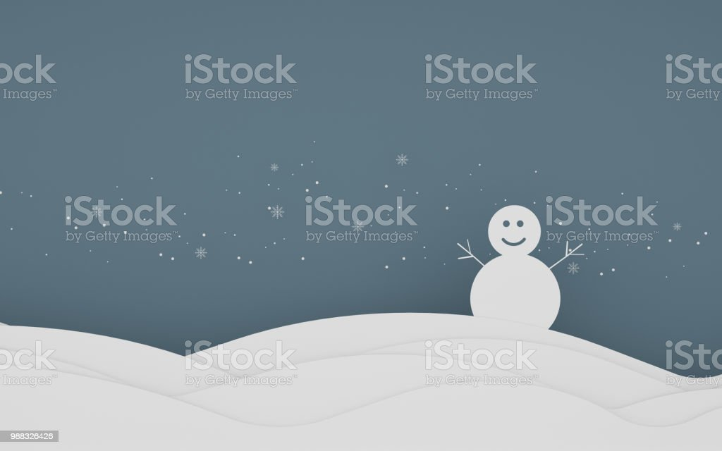 Paper art scene of snowflake and snowman on pastel background,Minimal concept of forest in the night,Idea for Xmas card,3D rendering stock photo