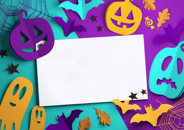 paper art - gruselige halloween-hintergrund - halloween party einladungen stock-fotos und bilder