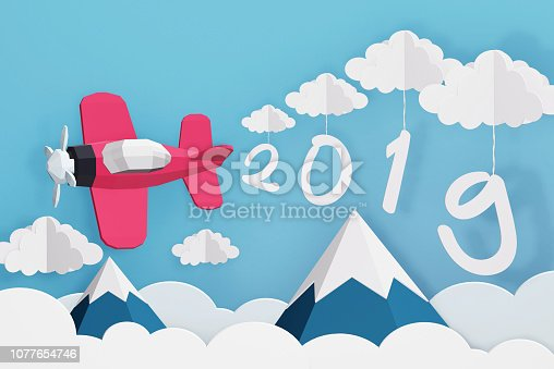 istock Paper art style of 2019 hang with cloud and Pink plane flying over mountain in the blue sky, Romantic, sweet, cute, Perfect happy new year cards for the loved ones in your life, 3D rendering design. 1077654746