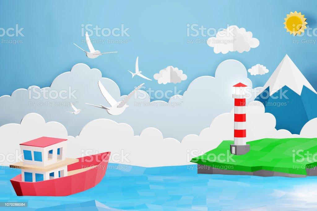 Photo Libre De Droit De Style Art Papier Phare Et Bateau Naviguant Dans La Mer Sous La Lumiere Du Soleil Origami Et Voyager Concept Facile A Utiliser Par Imprimer Votre Propre Logo