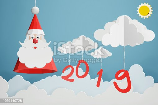 1043435102 istock photo Paper art style of Santa Claus hat and 2019 hang with cloud in the blue sky, Perfect happy new year or Christmas cards for the loved ones in your life, 3D rendering design. 1079140728