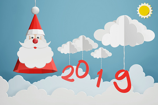 1043423158 istock photo Paper art style of Santa Claus hat and 2019 hang with cloud in the blue sky, Perfect happy new year or Christmas cards for the loved ones in your life, 3D rendering design. 1079140728