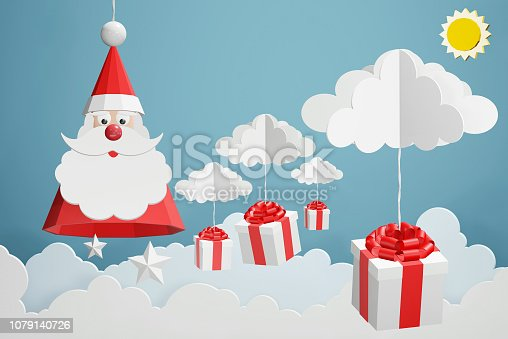 1043435102 istock photo Paper art style of Santa Claus hat and gift box hang with cloud in the blue sky, Perfect 2019 happy new year or Christmas cards for the loved ones in your life, 3D rendering design. 1079140726