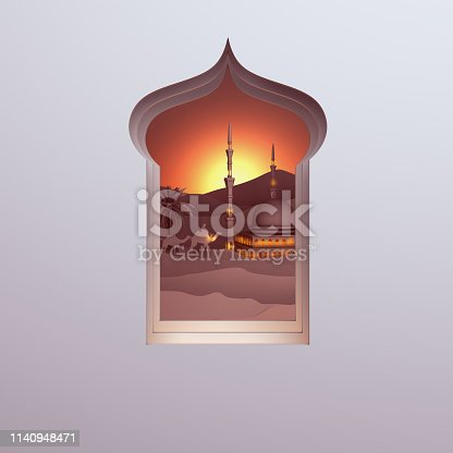 1140668282istockphoto Paper art view from arabic window of sunset desert with the mosque, camel, dates palm. 1140948471