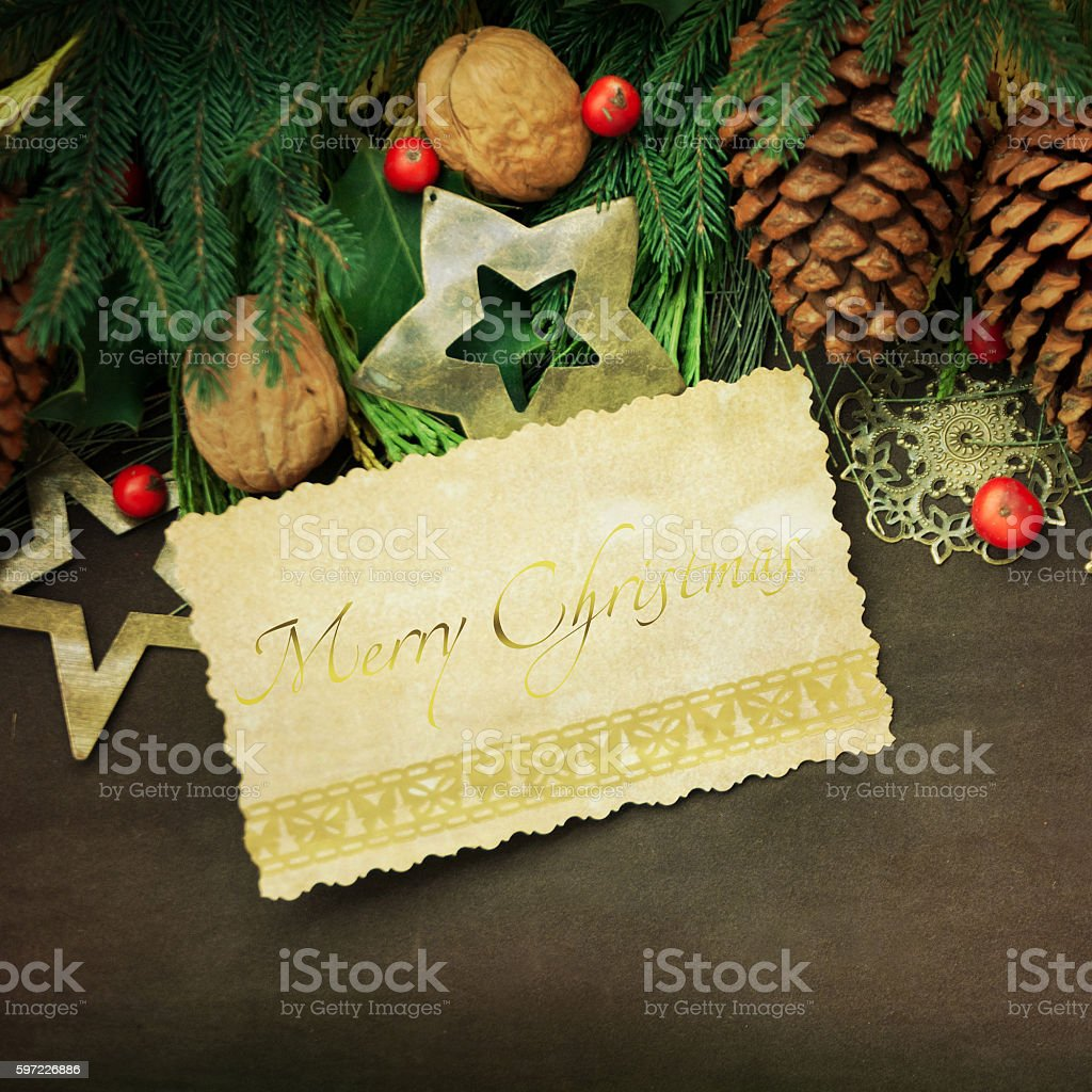 Paper background with Christmas border stock photo