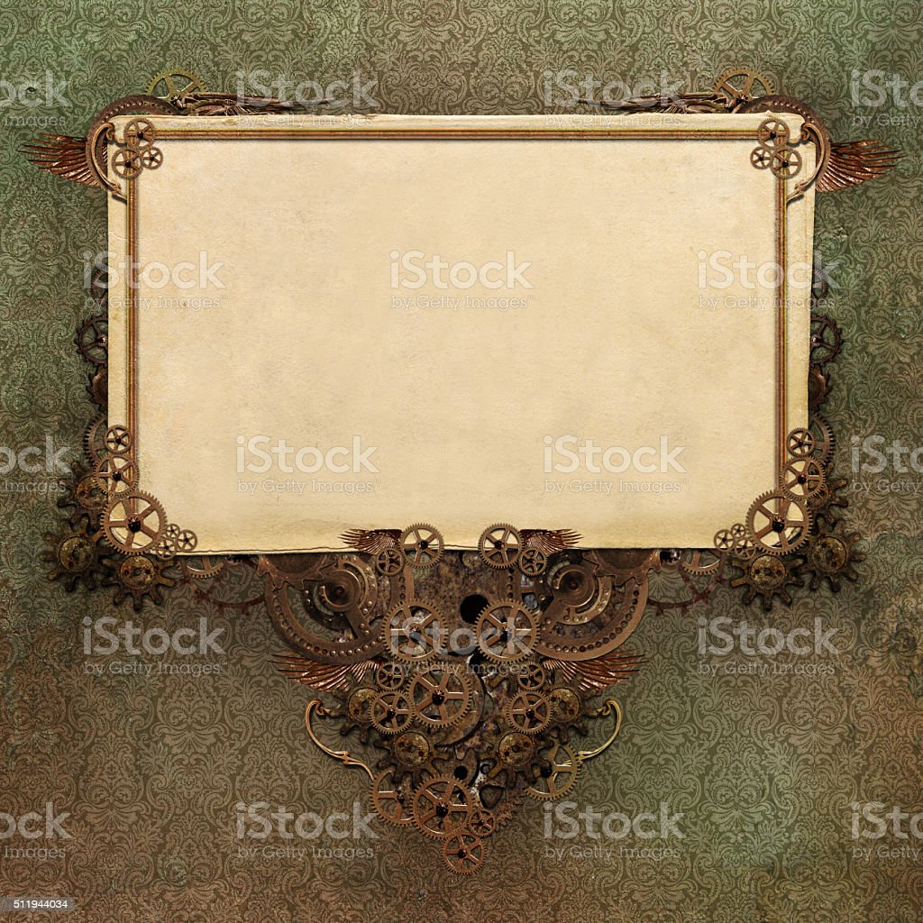 paper background with vintage wallpaper design and frame stock photo