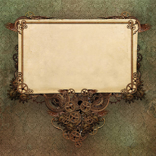 paper background with vintage wallpaper design and frame - steampunk stock photos and pictures