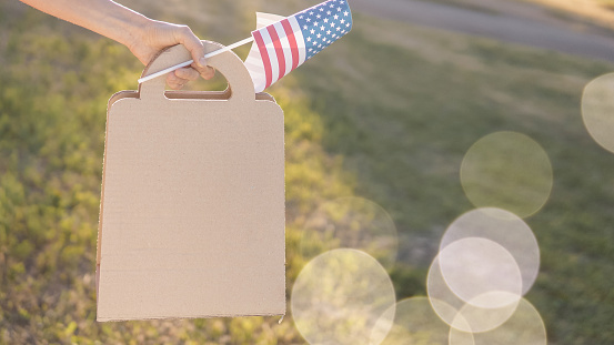 Paper bag and american flag