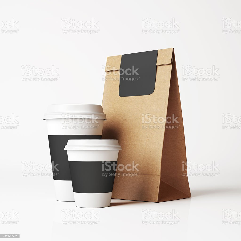 Paper bag and cups stock photo