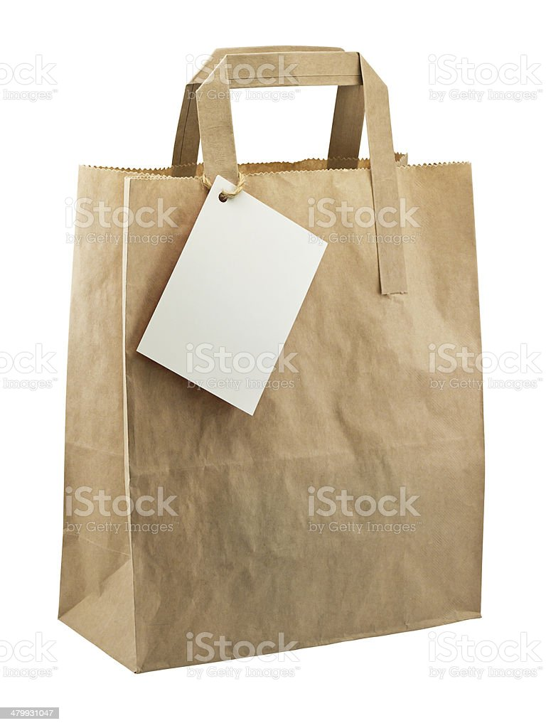 paper bag blank tag isolated royalty-free stock photo