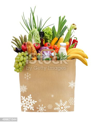 istock Paper bag full of groceries 499621544