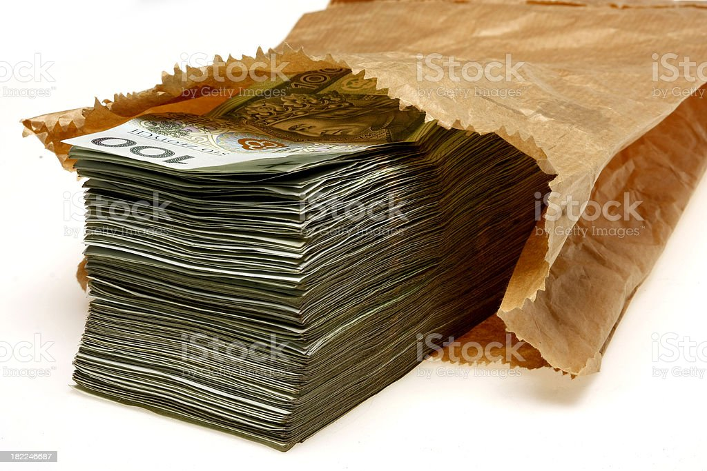 Paper Bag Full of Polish Banknotes royalty-free stock photo