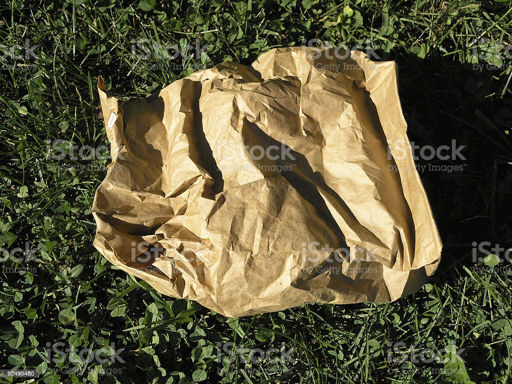 Paper Bag in the Grass royalty-free stock photo