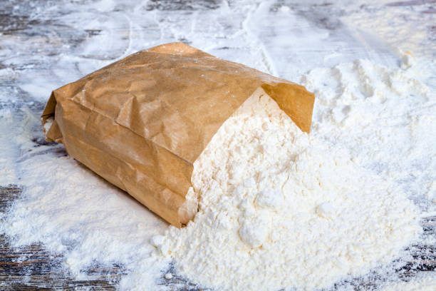 paper bag of flour stock photo