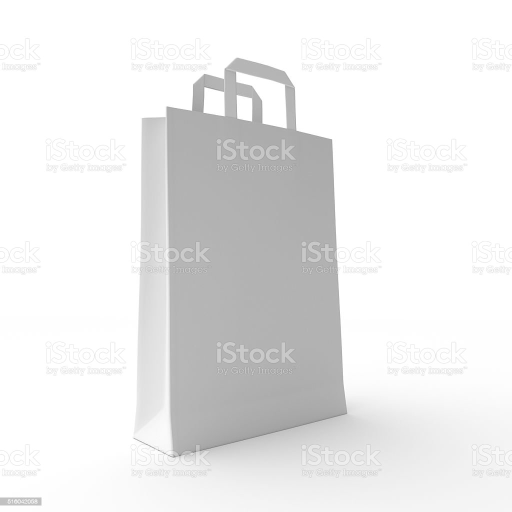 Paper Bag on White stock photo