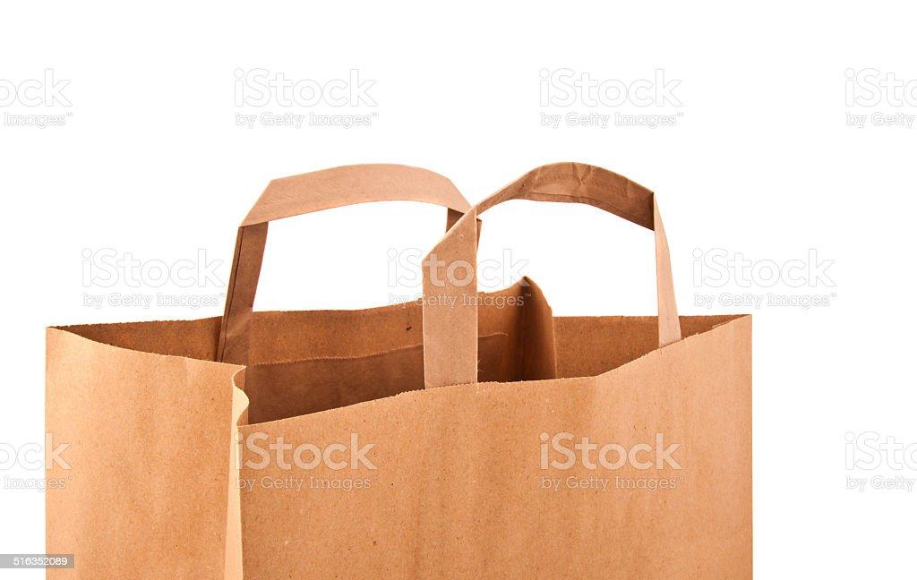 Paper bag on white stock photo