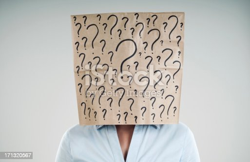 woman wearing a paper bag with questions mark