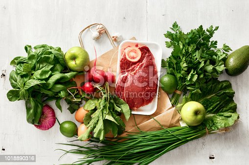 1126188273 istock photo Paper bag with different healthy food Top view Flat lay 1018890316