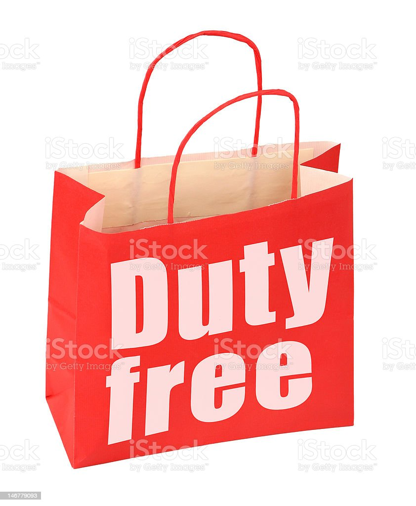paper bag with duty free sign royalty-free stock photo