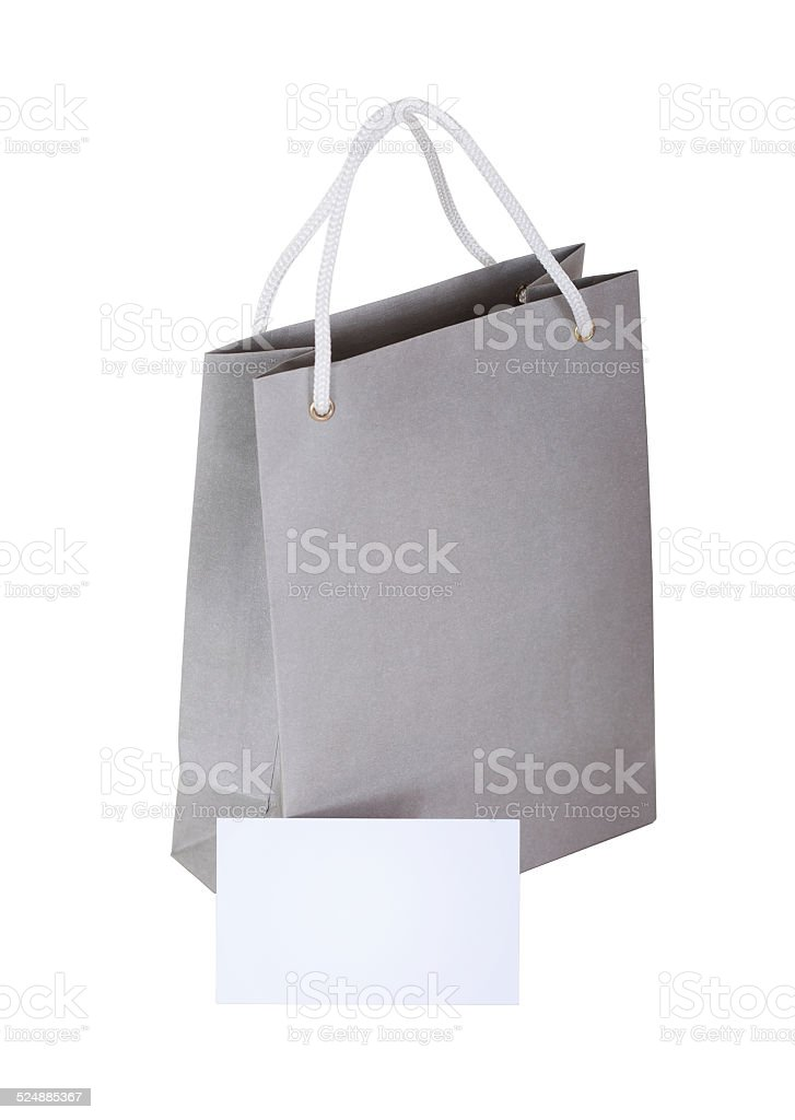 paper bag with gift card. stock photo