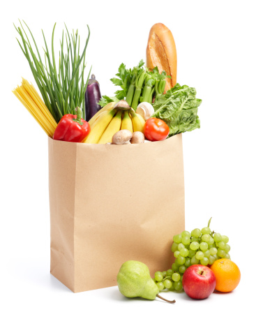 paper bag with groceries