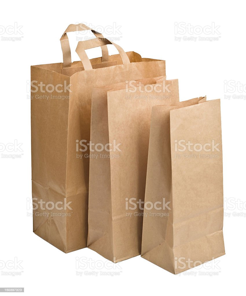 Paper Bags isolated on white royalty-free stock photo