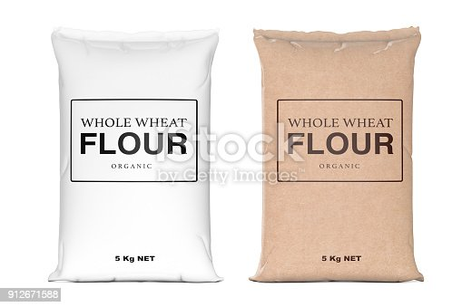 istock Paper Bags of Whole Wheat Organic Flour. 3d Rendering 912671588