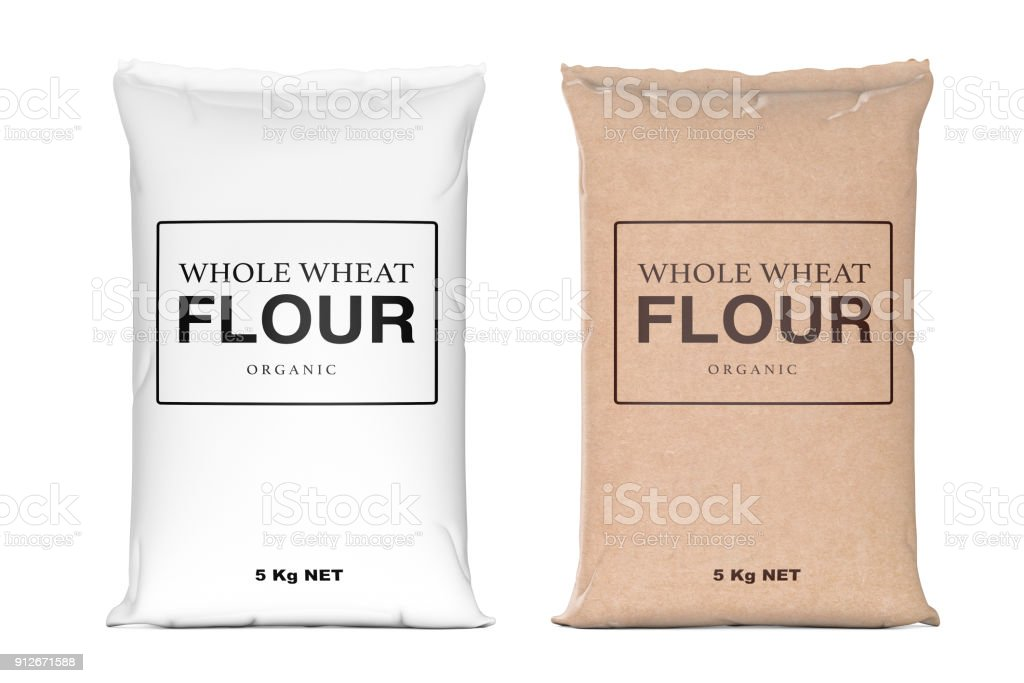 Paper Bags of Whole Wheat Organic Flour. 3d Rendering stock photo