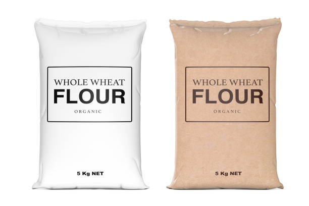 paper bags of whole wheat organic flour. 3d rendering - sack stock pictures, royalty-free photos & images