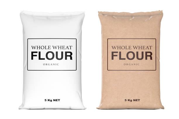 papieren zakken van biologische volkoren meel. 3d-rendering - zak tas stockfoto's en -beelden