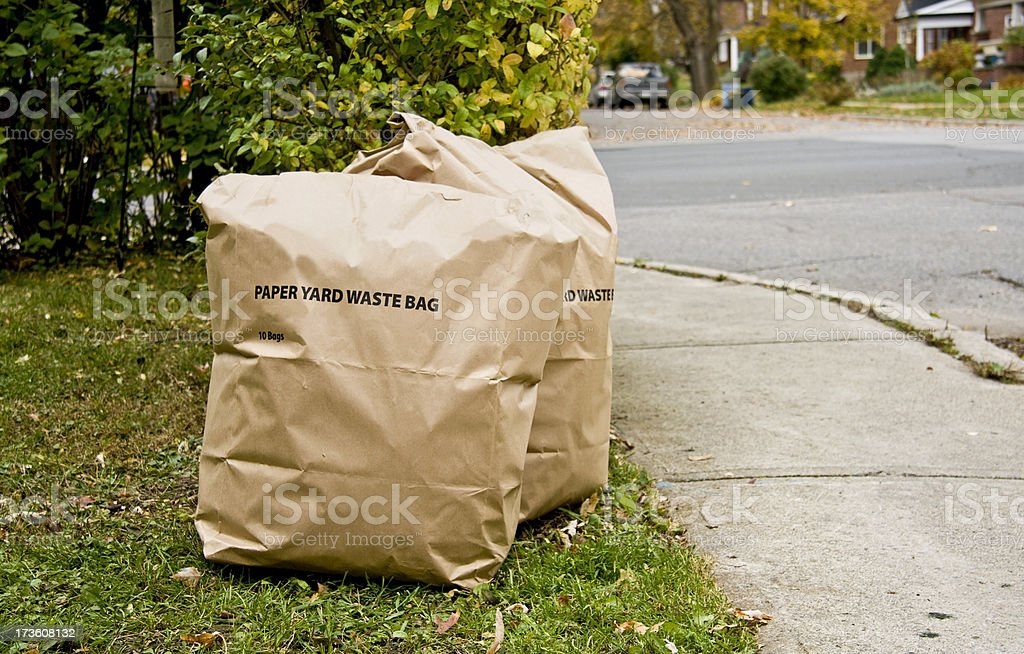 Paper bags of yard waste beside street stock photo