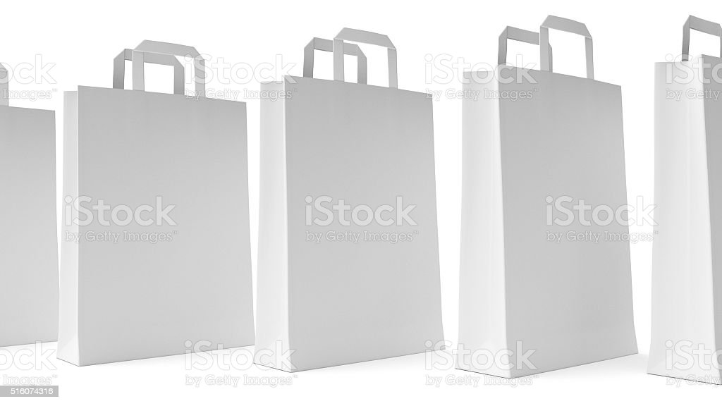 Paper Bags on White stock photo