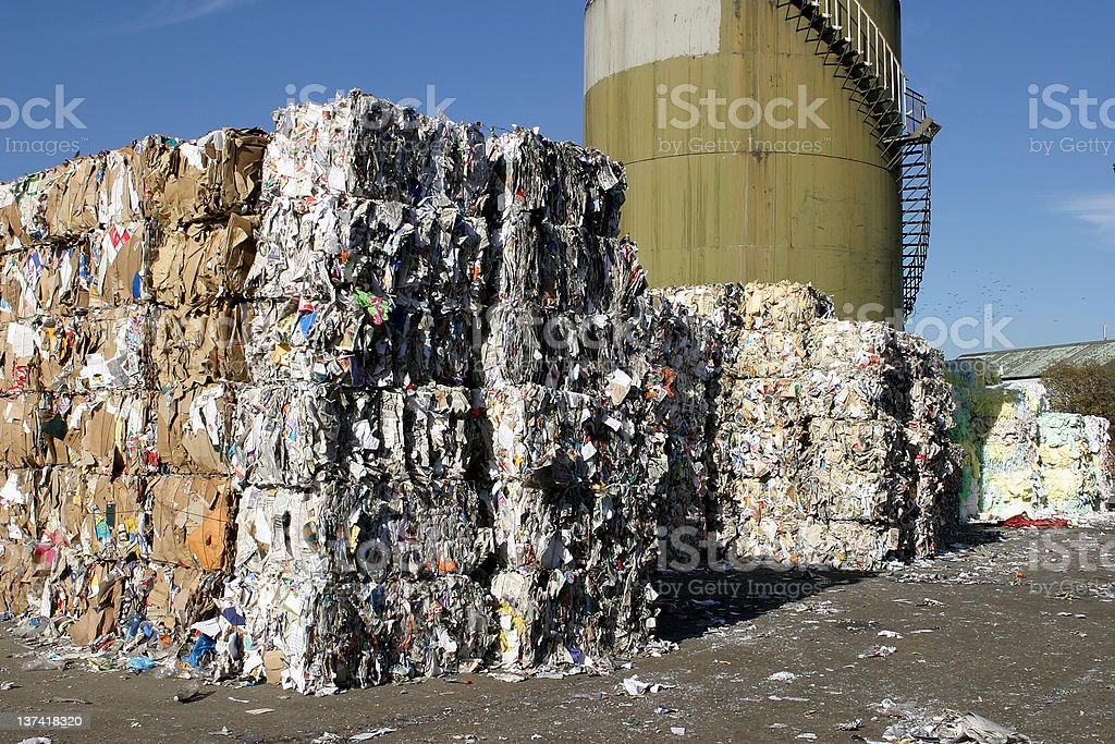 Paper bales for recycling royalty-free stock photo