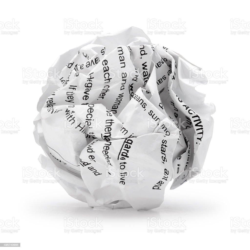 Bolas de papel arrugado texto del gui n de imprimir la hoja de papel para escribir aislados - Boulette papier mariage ...