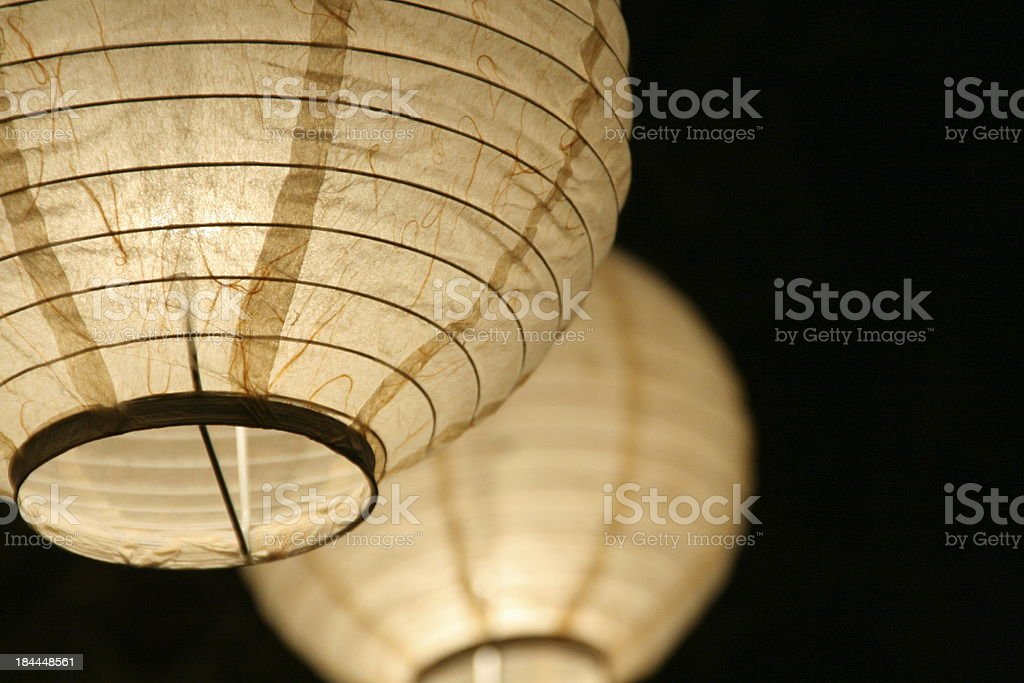 Paper ball lights with black background stock photo