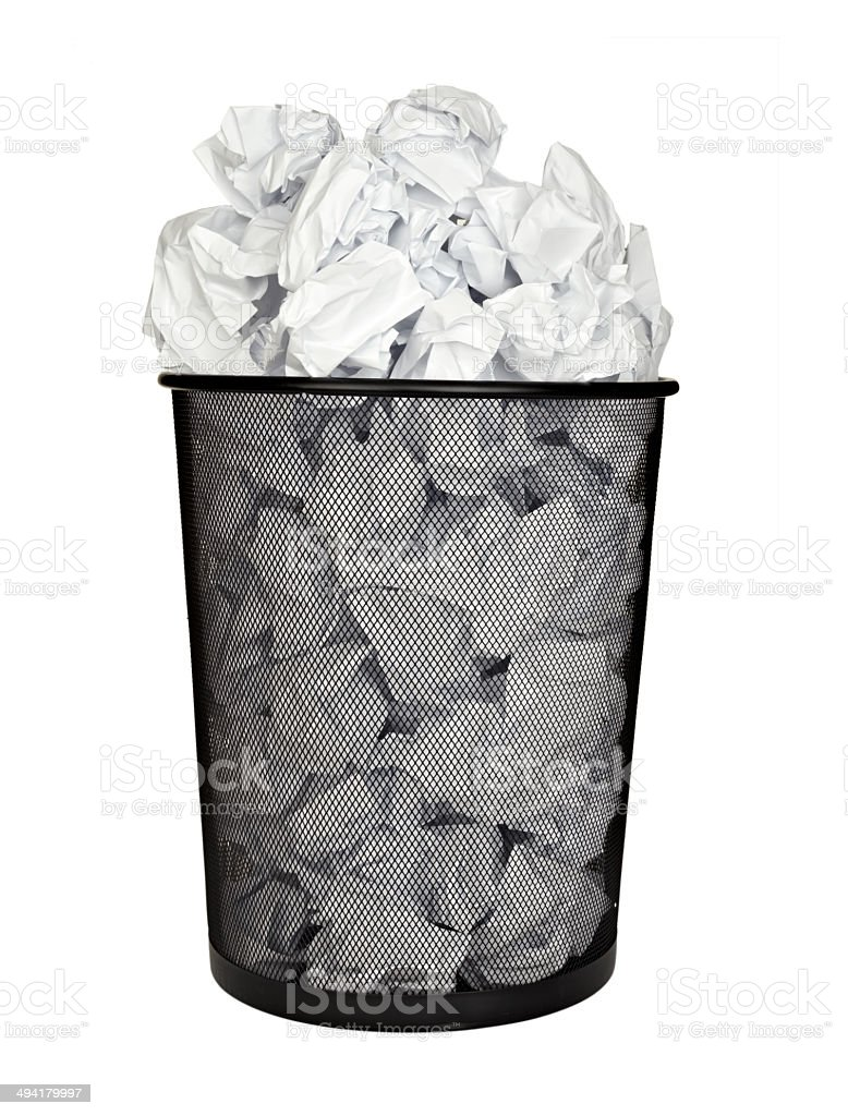 paper ball waste paper bin office business stock photo