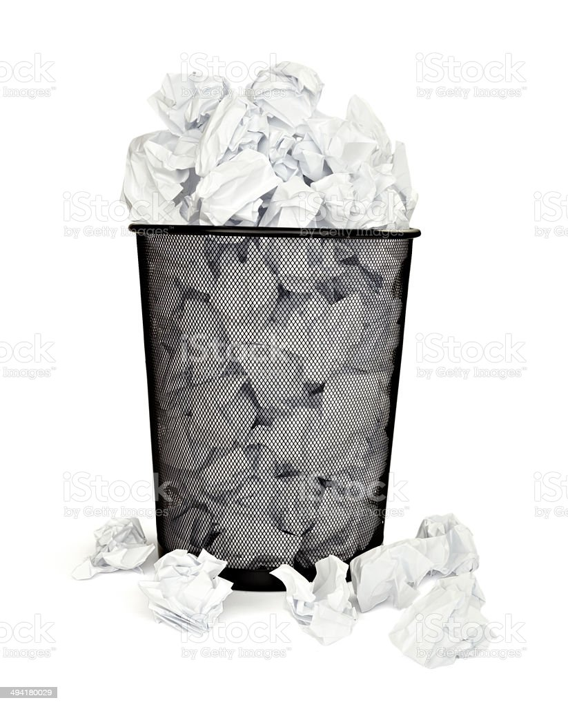 Paper Ball Waste Paper Bin Office Business Royalty Free Stock Photo