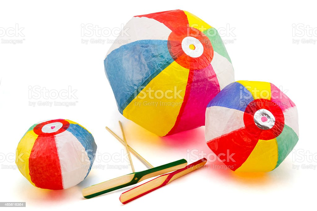 Paper Balloons and bamboo copters, japanese traditional toys stock photo