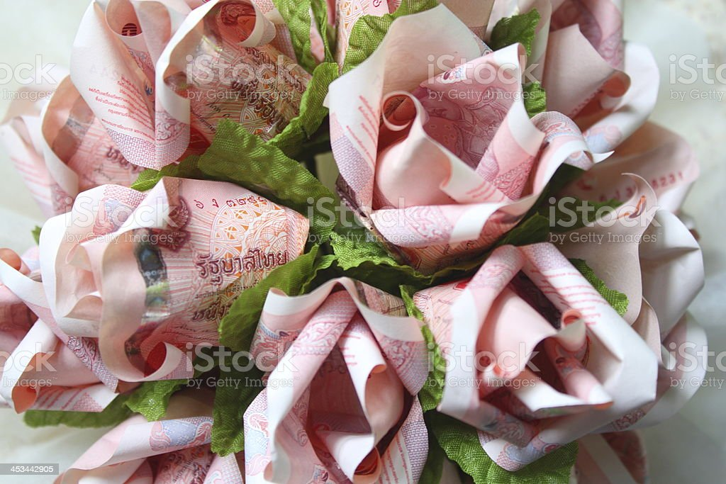 Paper Banknote Roses in Origami royalty-free stock photo