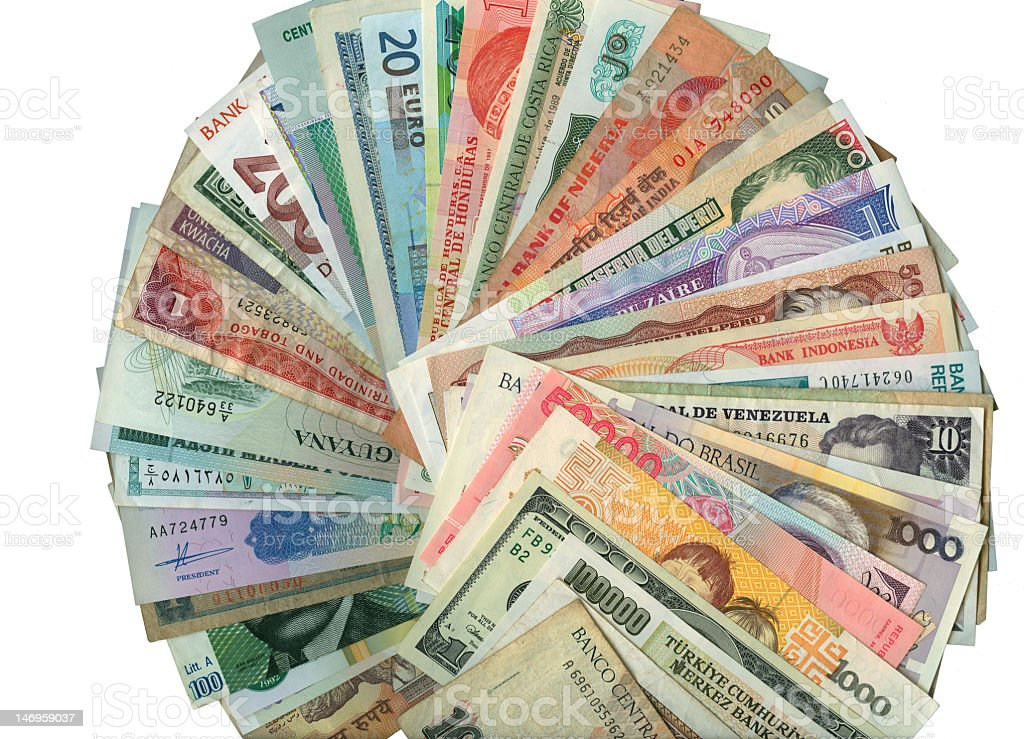 Paper banknotes of currencies from around the world royalty-free stock photo