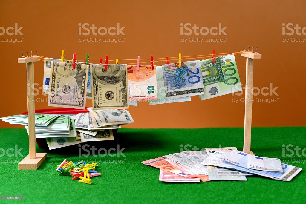 Paper banknotes the hanging on a rope stock photo