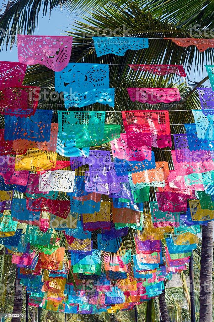 Paper Banners, or Papel Picado, in a Mexican Street - foto de acervo