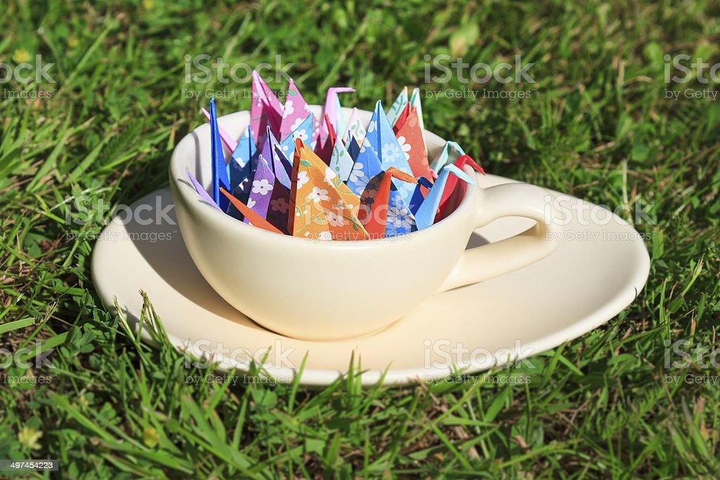 Paper birds stock photo