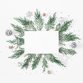 istock Paper blank, christmas silver decorations . Flat lay, top view 865499700