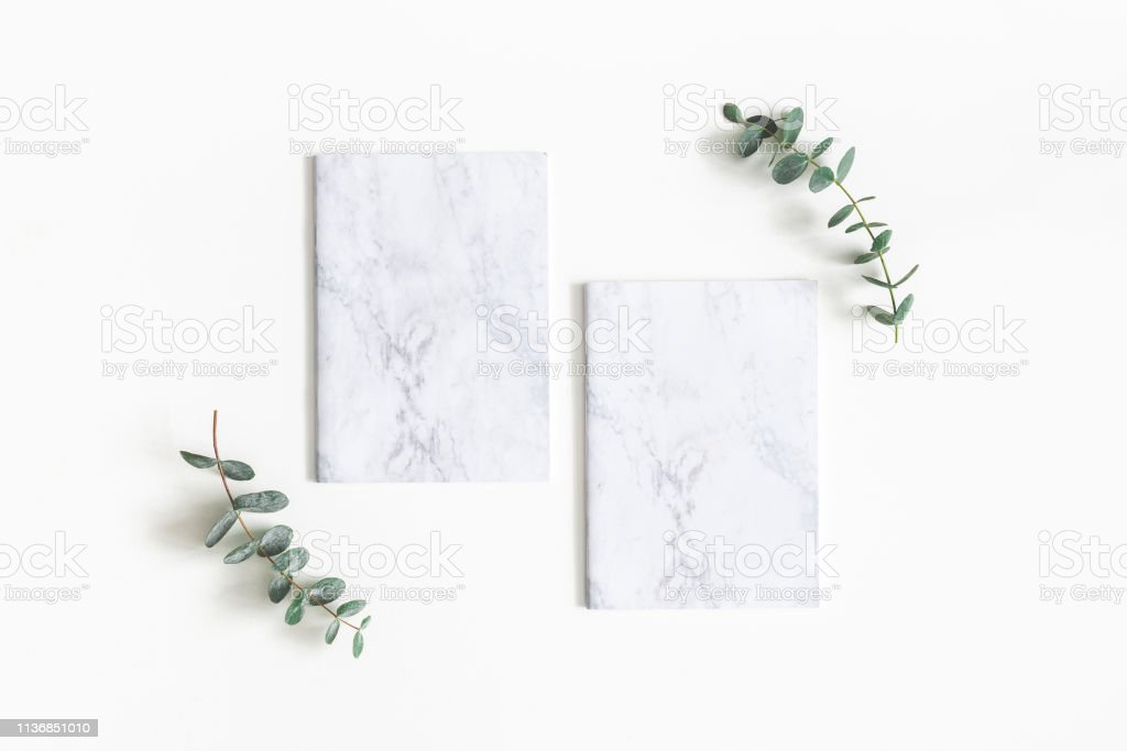 Paper Blank Eucalyptus Branches On White Background Wedding