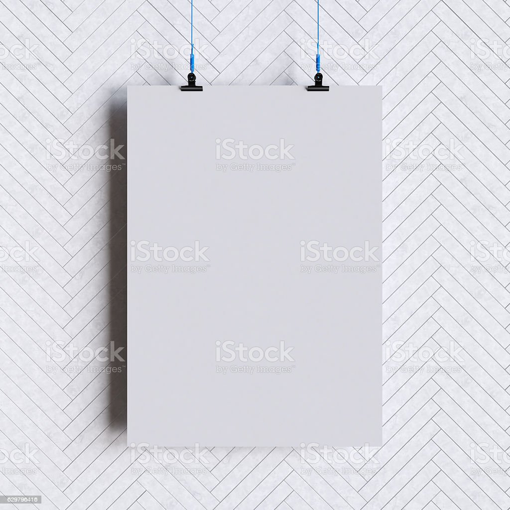paper blank poster template hanging over wall 3d illustration stock